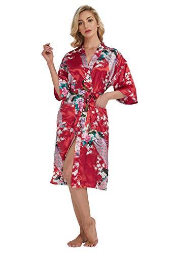 Westkun Kimono Japones Mujer Albornoz Vestido de Satén Pavo Real Novia Pijamas Largo Sexy y Elegante de Seda Bata Camisón Robe Lencería Cardigan(Rojo,XXL)