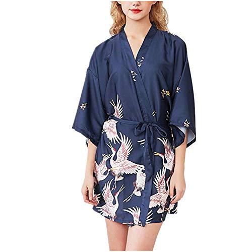 Fansu Kimono Albornoz De Seda Ropa, Mujer Bata Novia Casa De Estilo Saten Batas Cortos Dormir Albornoz de Dama de Honor Pijamas de Noche (M,Armada)