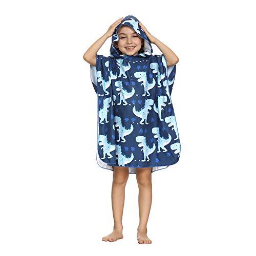 ED-Lumos Toalla de baño con Capucha para niño niña Poncho Playa Infantil Microfibra Albornoz 4-7 años Dinosaurio Verde