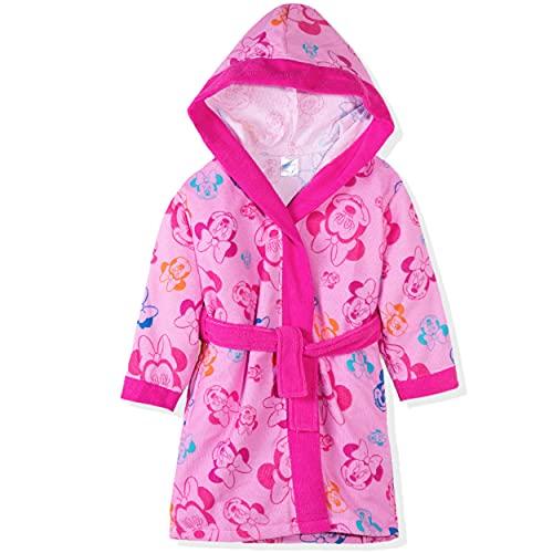 Disney Frozen, Minnie Mouse Character - Albornoz con capucha para niña (2 a 8 años), rosa, 5-6 Años