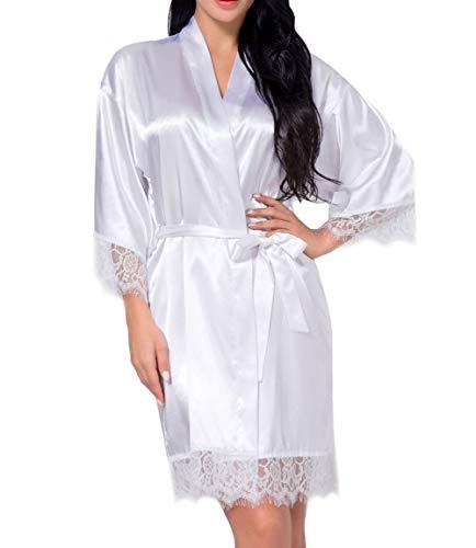 DELEY Mujeres Albornoz Kimono Satén Seda Ropa de Dormir Bata Elegantes Camisón Robe Dama de Honor Pijama Blanco Tamaño M