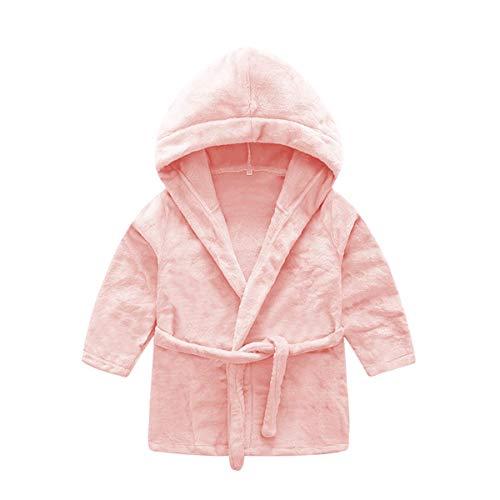 DEBAIJIA Bebé Albornoz 0-14T Infantil Bata de Baño Casa Pijama Noche Ropa de Dormir Niños Camisones Niña Niño Unisexo(Rosado Brillante-130)