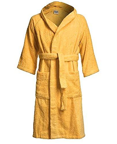Albornoz ligero para hombre y mujer, 100% algodón, 650 g/m² – Albornoz premium absorbente con capucha, 2 bolsillos, cinturón y súper suave, dorado, S