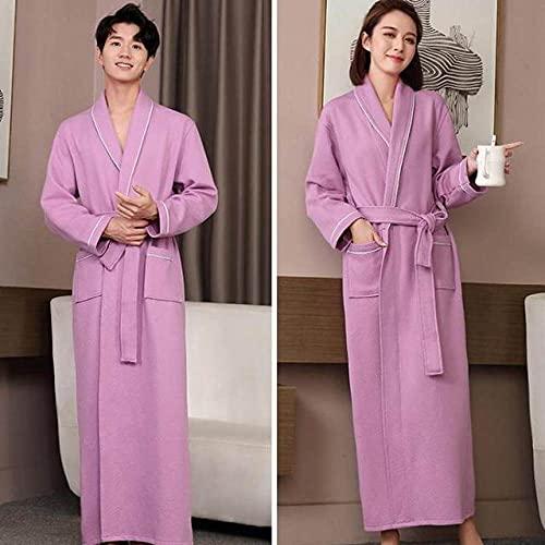 ZZJHH Bata de Kimono Alargada de otoño, Pijamas para el hogar, Pijamas para Parejas, Albornoz, púrpura, Hombres XXL