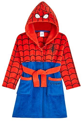Marvel Albornoz Niños, Spiderman Albornoz Niño, Bata Niño Casa de Forro Polar con Capucha, Merchandising Oficial Regalos para Niños Edad 2-9 Años (Rojo, 3-4 Años)