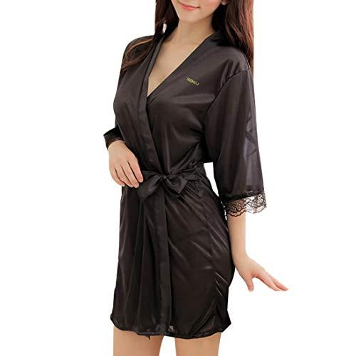 Sidiou Group Vestido Pijama Mujer Kimono Corto Bata de Satén Lencería Kimono Del Cordón Satén Seda de Hielo Bata Albornoz Camisón (M, Estilo 1-Negro)