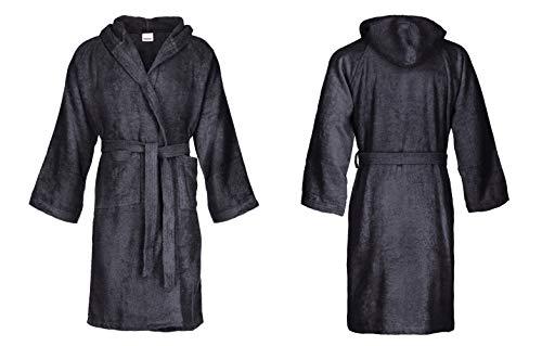 Bassetti - Albornoz con capucha para hombre/mujer, disponible en varias tallas y colores, 100% algodón gris oscuro XL