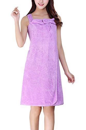 Besweeton Túnicas de Mujer Envoltura usable Toalla de baño Albornoz Falda de Tubo Ropa de Dormir Púrpura F