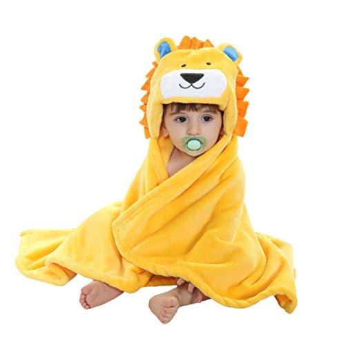 CuteOn Bebé Niños Niñas Flauta Ultra-suave Toalla de baño Toalla - con Capucha - Bebé Albornoz abrigo Manta León