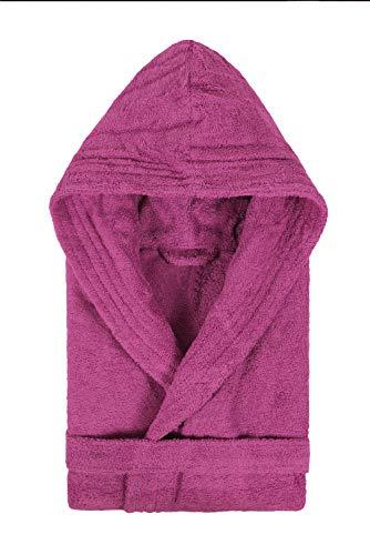 Textiles Vertrauen Pure - Albornoz con capucha para mujer, color Morado (Ciruela), talla Small