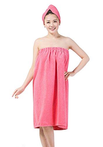 Toalla de baño para mujer, de microfibra, muy suave, absorbente y protable, con gorro de ducha, toalla de baño, toalla de baño, para mujer, rosa claro
