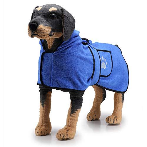 PET SPPTIES Albornoz para Perro Secado rápido de Microfibra Toalla Seca para Perros y Gatos PS047 (L, Blue 2)