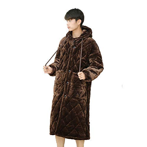 HUAHUA HOMEWEAR De invierno de la franela pijamas par caliente de tres capas acolchado pijama de las mujeres de largo Albornoz espesado de los hombres unisex súper blando Homewear, Hombres, XXL Vendaj
