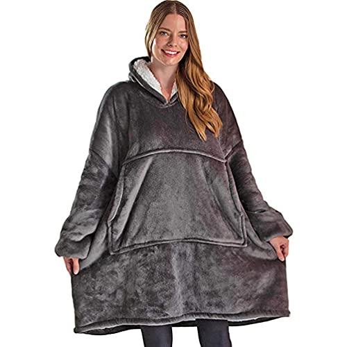 Sudadera con capucha de gran tamaño, con capucha, talla única, para hombres, mujeres, niños, niñas, pollana, jersey, spa, albornoz Beige gris Talla única