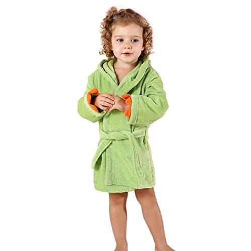 MICHLEY Bebé Ropa Niños Niñas Albornoz Capucha manta Toalla Pijamas Baño Algodón Animale para (Verde 3-5T)
