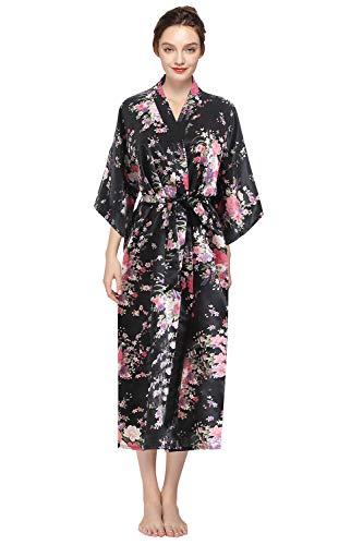 YAOMEI Mujer Vestido Kimono Satén Larga, Camisón para Mujer Sedoso Flores de Cerezo Robe Albornoz Dama de Honor Ropa de Dormir Pijama Versión extendida (Negro)
