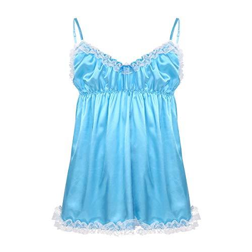inhzoy - Pijama de Encaje con Volantes de satén para Hombre Azul Azul Celeste L