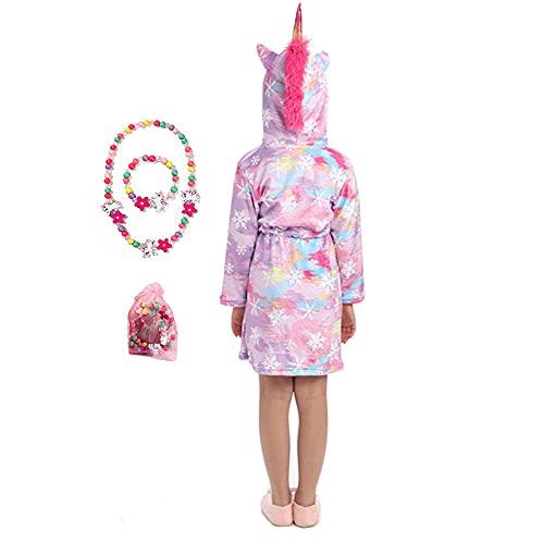 LinKeTop Albornoz de franela con diseño de unicornio para niños y niñas, con bonito juego de joyas, Nieve morada, 10-11 años