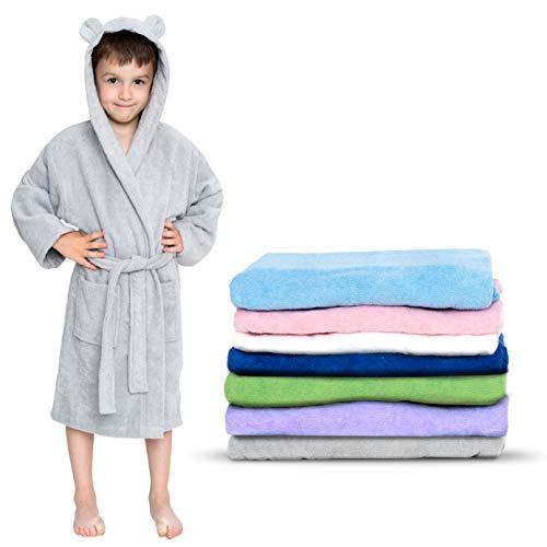 Twinzen - Albornoz Niños Algodón - Niño y Niña - 100% Algodón OEKO-TEX® - Bata de Baño 2 Bolsillos, Cinturón y Capucha, Gris, 3-4 años, (size2)