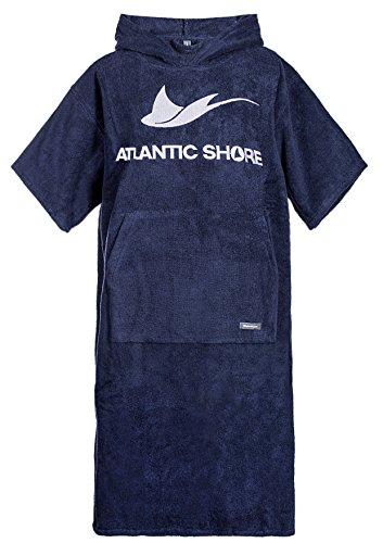 Atlantic Shore | Surfponcho (Unisex) * Albornoz de algodón de Primera Calidad ➤ Azul Oscuro ➤ Long