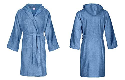 Bassetti Albornoz con capucha de algodón para hombre y mujer, disponible en varios tamaños y colores, 100 % algodón, Mar del Sur., S
