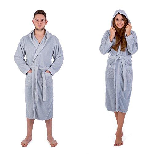 Julie Julsen Albornoz mullido para hombre y mujer en las tallas S-XXXL y colores actuales, albornoz de sauna, bata de algodón con capucha, color plateado, M