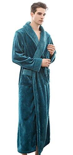 SUIMO - Kimono de Invierno Albornoz Unisex Grueso de Forro Suave Bata de Baño para Hombre Mujer - Verde - XL