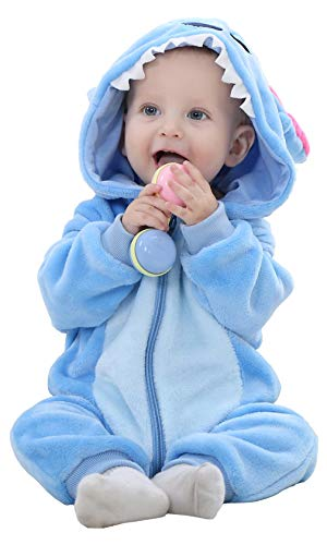 Mameluco Pelele Bebé Niños Niñas Linda Cómodo de Primavera y Otoño Franela Traje de Animales Ropa (0-6 Meses, Leopardo De Nieve)