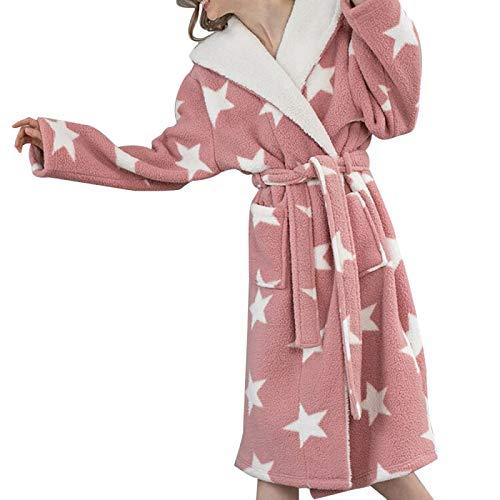 Hddwzh Albornoz Suave,Mujeres Invierno Rosa Térmico Largo Alborno Amantes Estrella Patrón Grueso Cálido Coral Fleece Baño Robe Soft Nightgowns Cinturón Bolsillo, L