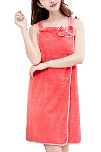 Besweeton Túnicas de Mujer Envoltura usable Toalla de baño Albornoz Falda de Tubo Ropa de Dormir Rojo F