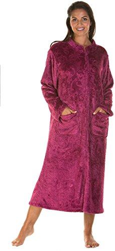 Lady Olga Ropa de dormir de forro polar en relieve de tacto suave en 3 estilos con cremallera, bata de botón o chaqueta de cama, Dark Rose - Cremallera, 44