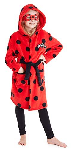 Miraculous Ladybug Albornoz Niña de Lunares, Ropa de Niña para Casa, Bata Niña Casa De Forro Polar Suave con Capucha y Máscara de Ojos, Regalos para Niñas (5-6 años)