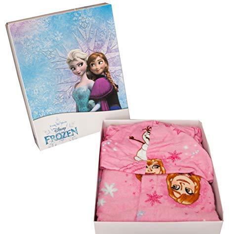 Albornoz con capucha original de Disney Frozen de los años 2, 3, 4, 5, 6, 7, 100 % rizo de puro algodón de terciopelo para niña (2/3 años)