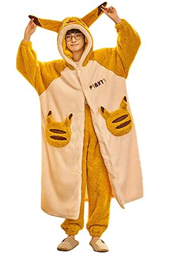 YAOMEI 2-In-1 Kimono Albornoz & Pantalones para Mujer Hombre, Invierno Lana Camisón 3D Capucha Robe Albornoz Dama de Honor Ropa de Dormir Pijama, para SPA Hotel Sauna Cierre de Botón