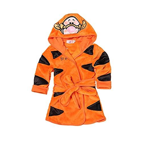XIN NA RUI Albornoz para bebé, de franela de manga larga, con capucha, para niños, primavera, otoño, albornoz de bebé de 1 a 6 años (color amarilla, tamaño de niño: 90 cm)
