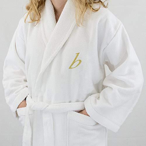 Lady HOTEL Edition blanco matrimonio/Terry albornoz de mujer, con letra personalizada, color dorado, algodón, Blanco, small