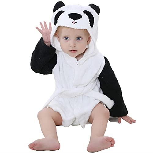 STOFIA Albornoz Bebes 100% Algodon - Toalla Bebe Recien Nacido 1 - 12 Meses Bata Casa Infantil Poncho Capa Y Regalos Para Niños (Panda Blanco)