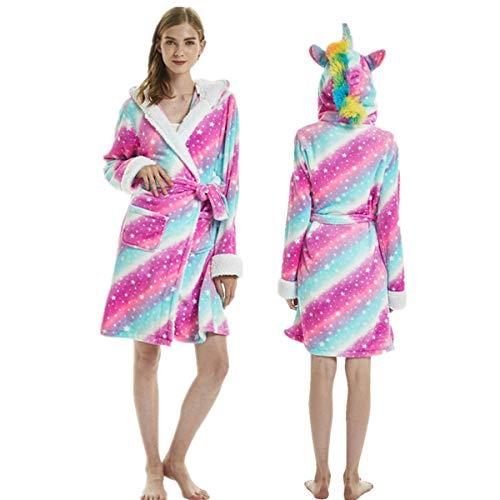 Kylewo Albornoz con Capucha Unicornio Ropa de Dormir - Animal Adulto Suave y Suave con Capucha Fleece Corto Unicornio Cosplay Albornoz Bata
