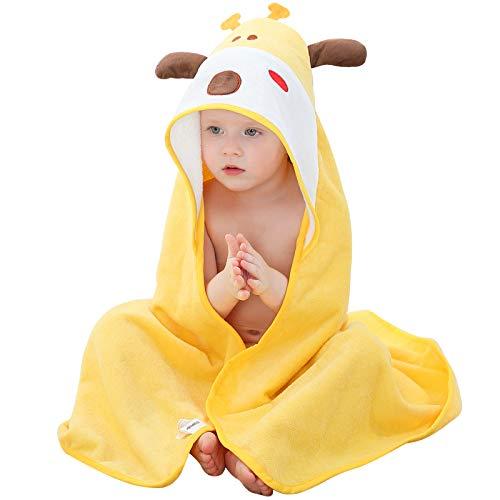MICHLEY Bebé Ropa Niños Niñas Capucha Toallas de baño 90x90cm Niño Animal Albornoz Algodón Manta Regalos Para Bebes apto para 0-6 años(Jirafa)