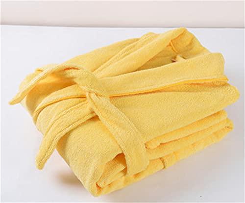 Toalla de algodón, Bata de Felpa, Amantes Unisex, Bata de baño Suave para Hombres y Mujeres, Ropa de Dormir para Hombre, Albornoz Informal para el hogar-yellow-3-XL