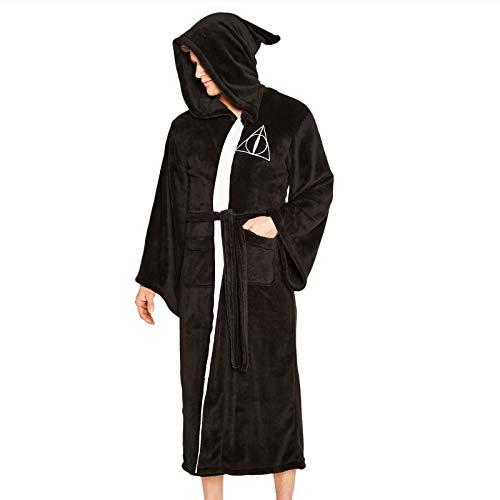 Groovy Albornoz con capucha de Harry Potter de las Reliquias de la Muerte, poliéster, negro, talla única
