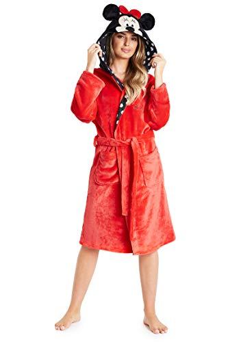 Disney Bata Mujer Invierno, Minnie Mouse Albornoz Mujer, Bata de Casa Mujer Forro Polar, Batas de Casa Mujer Invierno Capucha, Regalos para Mujer Adolescente (Rojo, S)