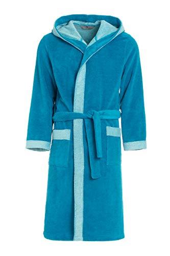 Revise RE-855 - Albornoz con capucha para hombre con fibra de bambú, albornoz para sauna turquesa XXX-Large