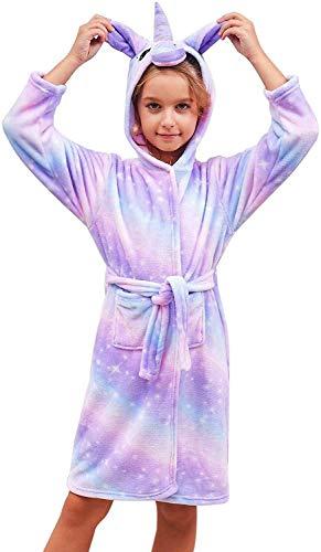 Ruiuzioong Suave Unicornio Ropa Albornoz con Capucha Dormir - Regalos de Unicornio para Niñas (Púrpura Brillante, 5 años)