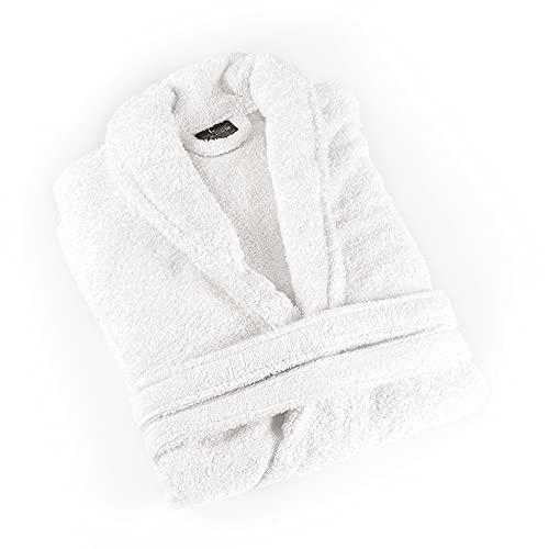 PimpamTex – Albornoz Unisex 100% Algodón con Cuello Tipo Smoking para Hombre y Mujer - (Talla XL, Blanco)