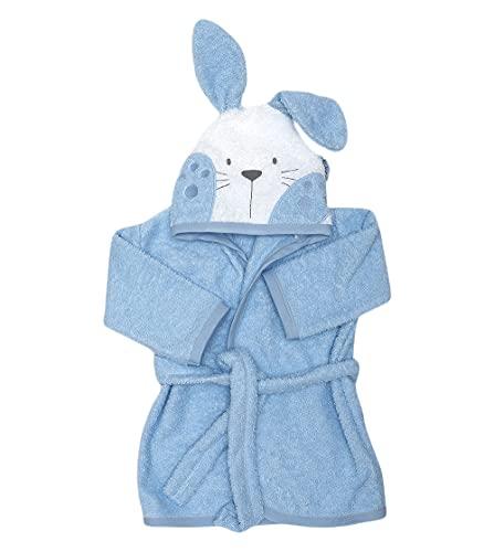 Ti TIN - Albornoz Infantil con Capucha de Rizo Toalla 100% Algodón Absorbente con un Diseño de Orejas de Conejito Color Azul Celeste, Talla Bebés de 6 meses a 1 año.