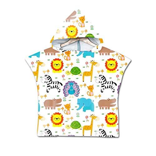 FGVBWE4R Capa de la Playa Cebra de Dibujos Animados Lindo/León/Jirafa Estampado Bebé Toalla de baño Albornoz Albornoz Regalos para niños