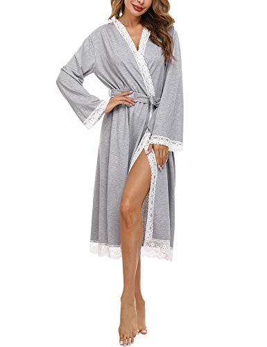 Doaraha Albornoces de Encaje para Mujer Cárdigan Batas de Encaje Bata de Kimono con Cuello en V Bolsillo Ropa de Dormir Suave (Gris, L)