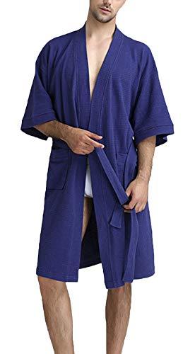 INSTO Hombre de Verano Pijamas Manga Corta Cuello en V Albornoz Casual Suelto Homewear Vestido Vestido Sauna Abrigo con Cinturón,Azul Marino,M