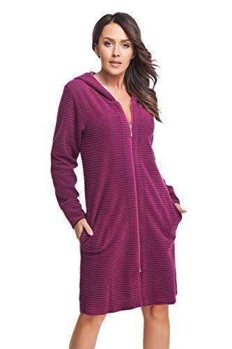 DOROTA Albornoz de algodón suave y moderno con bolsillos, cremallera y capucha. fucsia XXL